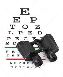 Binoculars On Eyesight Test Chart Stock Photo Violin