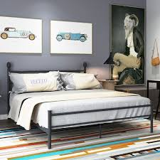 Shop VECELO Platform Bed Frame Metal Bed with Headboard and ...