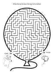 Free Online Printable Kids Games - Bear And Balloon Maze | Hard ...