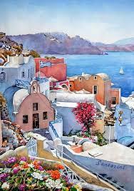 santorini greece watercolour painting by p zografos
