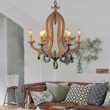 farmhouse 47 light candle distressed wood chandelier free