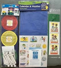 Calendar And Weather Pocket Chart Lot Of 3 Pocket Charts Calendar Weather Stoplight Story Building Ebay