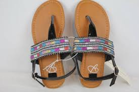 Size 1 Girl Shoes Chart Details About New Girls Sandals Size 1 Black T Strap Thongs Kids Summer Shoes Flats Glitter