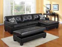 black leather couch. L Shaped Black Leather Sofa With Patterned Cushions Added By Rectangle Couch