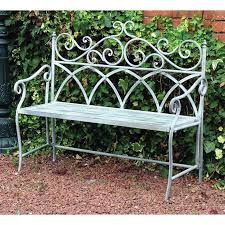 wrought iron garden furniture antique. vintage wrought iron bench garden patio outdoor seat chair metal frame furniture wrought iron antique