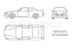 car outline front. Brilliant Car Contour Drawing Of The Car On A White Background Top Front And Side View  The Vehicle In Outline Style Vector Illustration  Stock Colourbox With Car Outline Front