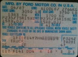 Ford Ranger Gear Ratio Chart Identify Your Ford Truck Axle From The Door Sticker Blue