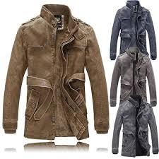men fashion motorcycle winter thick warm vintage pu leather jackets trench coat at banggood