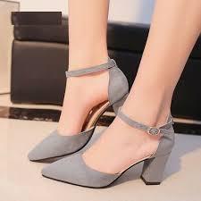 Women's Sandals Square <b>High</b> Heel <b>Flock Pointed</b> Pvc Lace-up ...