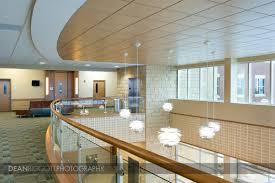 interior architectural photo of the blue earth county justice center lobby in mankato minnesota