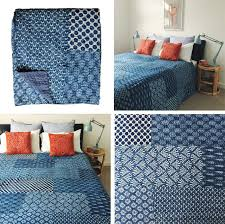 twin size hand block printed indigo kantha quilt patchwork bedspread throw royalfurnish com