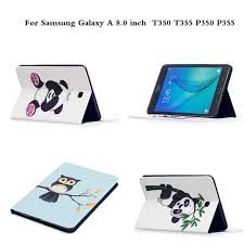 painting pu leather cute cartoon stand case tablet pc protector cover for samsung galaxy tab a