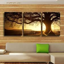 2017 rushed real 3 panels modern tree painting picture cuadros sunset canvas wall art home decor for living room no frame in painting calligraphy from  on sunset wall art canvas with 2017 rushed real 3 panels modern tree painting picture cuadros