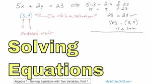 01 solving equations with two variables part 1