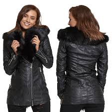 womens flamant rose polyester faux fur collar black trench jacket size uk 8 14