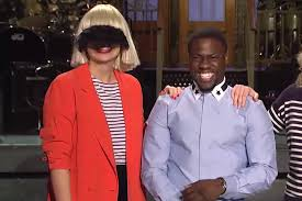 sia performs chandelier with a veil and a mime on saay night live spin