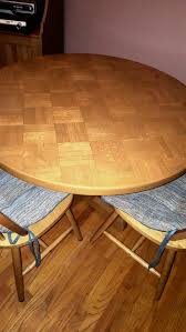 hardwood round table with lattice inlays and two round back chairs for in los angeles ca offerup