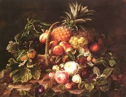a still life of a basket of fruit and roses