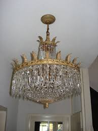 beautiful old chandelier set with cut glass crystals belgium first half 20th century