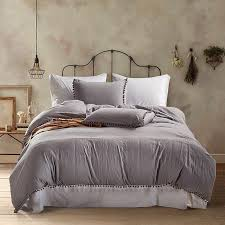 2019 polyester cotton bedding set home textile soft bed linings king queen twin size grey pink white ball duvet cover pillowcases from fair2016