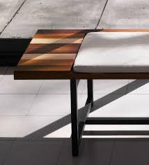 cb 345 stripe bench with alternating solid planks of teak ash and walnut ebonized ash base