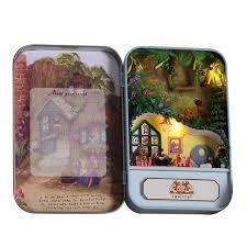 homemade doll furniture. T004 Squirrel Paradise Iron Box DIY Doll House Miniature Dollhouse Furniture Toy Miniatura Birthday Creative Homemade