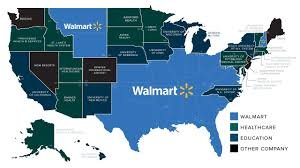 The Extraordinary Size Of Amazon In One Chart Walmart Nation Mapping Americas Biggest Employers