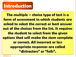 Assessment Of Learning Multiple Choice Test