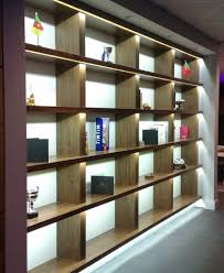 pure white led strips light up these shelves