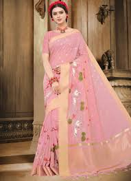 Makeover Saree Designs Handloom Cotton Pink Traditional Designer Saree