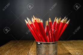 Idea office supplies home Chernomorie Wooden Pencil In Tin Can Idea For Offices Schools Home Stock Photo Ivchic Wooden Pencil In Tin Can Idea For Offices Schools Home Stock