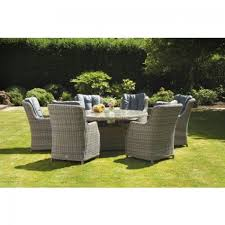 royalcraft wentworth rattan 6 seater comfort dining set with lazy susan