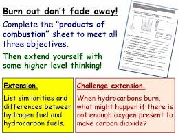 combustion burning fuels year 8 lesson powerpoint ks3 8ea hydrocarbons word equations