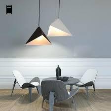installing ceiling light fixture box matte white black iron geometry triangle pendant minimalist hanging lamp desig