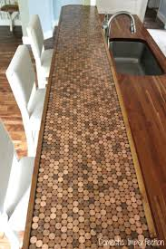 copper penny tile backsplash kitchen stone penny peel and stone penny peel  and stick subway tile