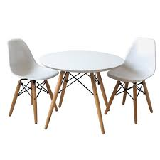 set of two white kids eames style retro modern colorful dining room mid century s chair metal natural wood dowel leg base plastic molded armless no arm