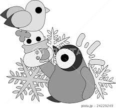 可愛い赤ちゃんペンギンとカモメと雪だるまの人形のイラスト素材