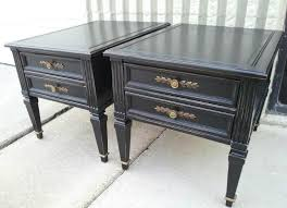 end tables custom painted black with light distressing of edges from facelift furniture s end