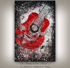 zoom on guitar canvas wall art red with red guitar painting 36 music art on canvas by nandita