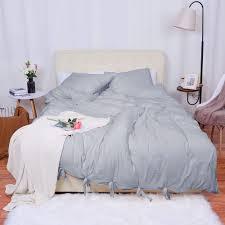 bowknot soft washed cotton duvet cover set