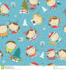Winter Christmas Background With Kids And Santa Stock Illustration