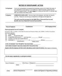 Employee Disciplinary Action Form Samples 8 Free Documents In