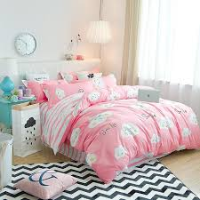 girl pink white clouds pattern bedding set super king duvet cover set 3 bedclothes bed man duvet flat sheet soft clearance duvet covers blue duvet