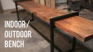 Diy Bench Diy Modern Indoor Outdoor Bench Wood And Steel Youtube
