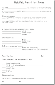 School Field Trip Permission Form Template Sample Permission Forms Tournament Publicity Tools School