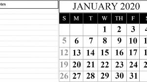 Printable Attendance Calendar 2020 Printable January 2020 Calendar Pdf Free Download