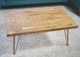 geometric oak and copper coffee table by oakdene designs round copper top coffee table