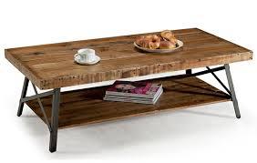 wood  metal coffee table – rustic teak wood table top black