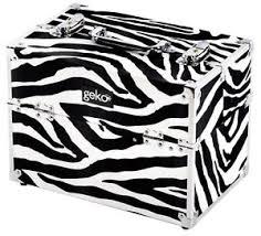 image is loading geko zebra print silver trim vanity case makeup