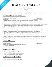 Sample Resume For Security Guard Resume Security Guard Security Guard Resumes Free Resume Templates
